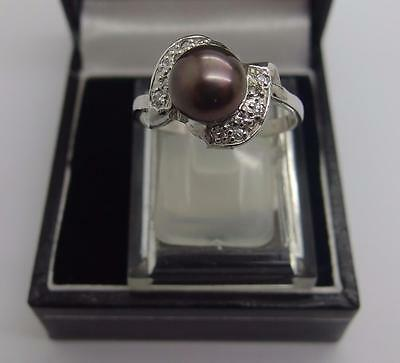 925 Sterling Silver Freshwater Cultured Black Pearl Ring Size Q UK 8 US #55
