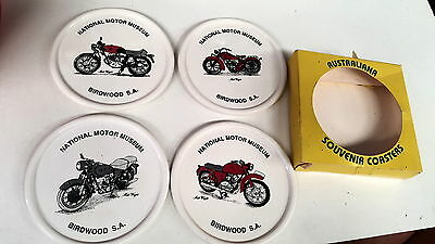 4 x NATIONAL MOTOR MUSEUM Motorcycle COASTERS  - Indian etc