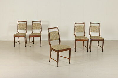 Five Chairs Beech Stained Wood Foam Fabric Vintage Manufactured in Italy 1950s
