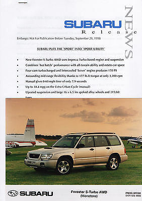 Subaru Forester S-Turbo AWD Press Release/Photographs - 1998