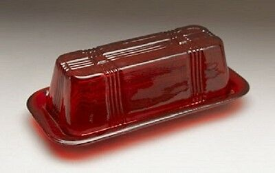 Red Glass Stick Butter Dish