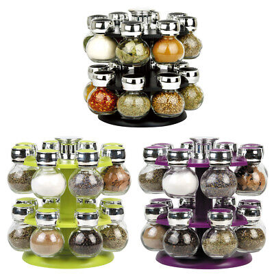16 Jar Revolving Rotating Spice Rack Glass Jars Chrome Lids Purple Black Green
