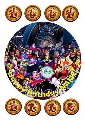 """Descendants  Birthday Cake  Round Edible Iced Icing 7.5"""" + 8 Cupcake Toppers"""