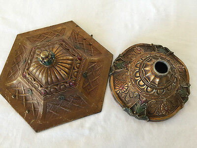 Lot 2 Antique Bronze Ceiling Light Fixture Ornate Floral Leaf Red Green Accent