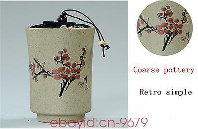 Christmas decoration Plum Coarse pottery tea caddy ceramic jar bottle container