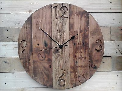 Rustic Pallet Wood Wall Clock Vintage 'Farmhouse' Engraved Shabby Chic 40cm