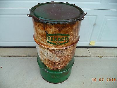 "Vintage TEXACO 120 Pound Can or Drum  27"" X 14"""