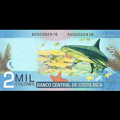 Costa Rica 2000 Colones 2009 P-275 UNC Low Serial Number # 2916 Bull Shark Note