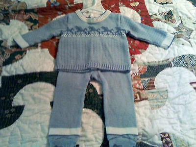 Vintage 2 piece sweater set for boy/reborn doll 6-9 mos