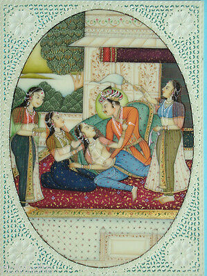 King Queen Harem Erotica NUDE exotic India Kamsutra  Book Painting  Palace Love