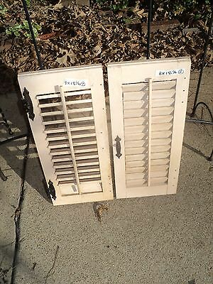 Vintage Window Shutters Louvered, Pair Each Panel Is 8 In Wide x 18 1/4 in. High