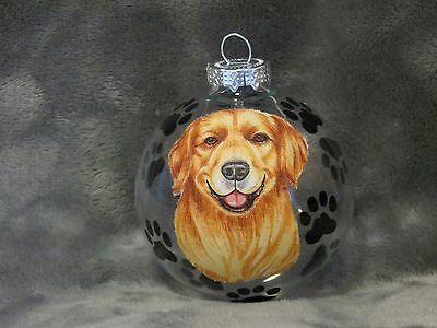 Hand Made Golden Retriever Glass Christmas Ornament / Ball