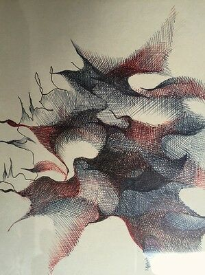 Original Signed 1968 American Artist Ganz Propper Pen and Ink Abstract