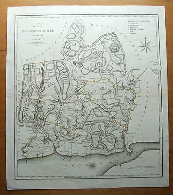 MONMOUTHSHIRE, WALES John Cary large antique map 1806
