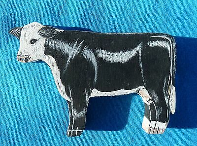"Black Baldy Handpainted Wood Cow, Shelf Sitter, Size 4-1/2"" x 3-1/2"" x 1/2"""