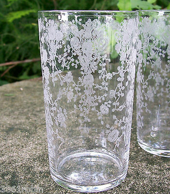"""Cambridge """"Rose Point"""" Etched Clear Glass Tumbler 4 3/8""""H Line #3400 1936-53"""
