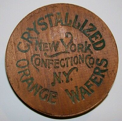 """Crystallized Orange Wafers Wooden Candy Box Round 4 3/8""""D New York Advertising"""