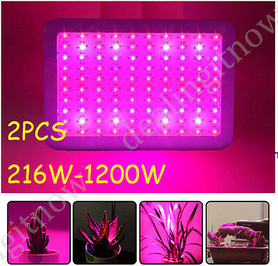 2PCS 216W-1200W LED Grow Light Lamp Full Spectrum Panel Veg Flower Indoor Plant