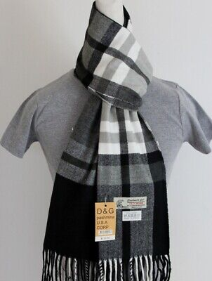 DG Men's Winter Scarf Check-Plaid.White Black.Cashmere--Feel Warm Soft Unisex