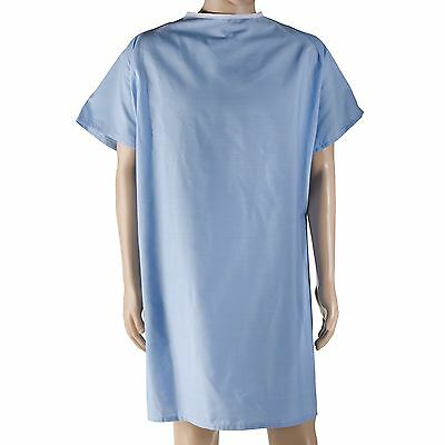 DMI Patient Hospital Gown with Snaps and Large Raglan Sleeves Blue