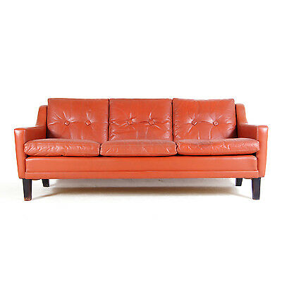 Retro Vintage Danish Large Rosewood & Red Leather 3 Seat Seater Sofa 1960s 70s