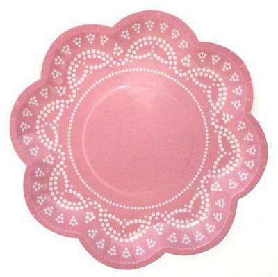 NEW Lovely Lace Pastel Pink Paper Plates Party Birthday Supplies Decorations