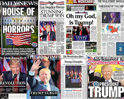 Donald Trump President 16x20 Photo Newspaper Headlines NY Post Times Daily News