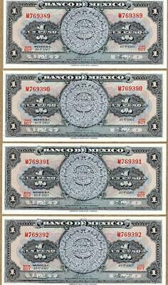 BN04 Lot of 4 Banknotes from Mexico  $ 1.00 Un Peso, uncirculated