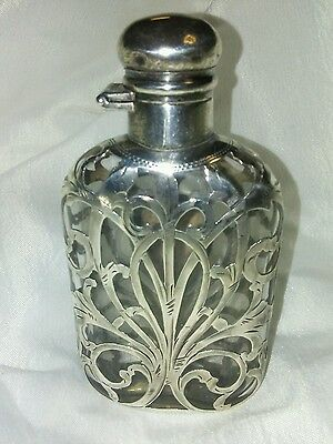 Amazing Antique Ladies  Sterling Silver Overlay Crystal Flask 999/1000