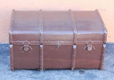 Vintage STEAMER TRUNK train luggage  chest old coffee table antique storage