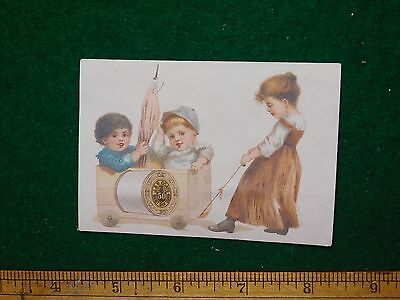 1870s-80s J & P Coates Thread Girl Pulling Kids Wagon Victorian Trade Card F36