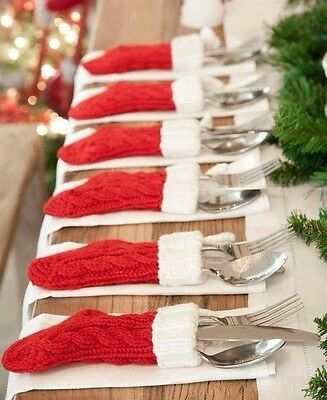 Beautiful Hand Knitted Christmas Cutlery Stocking
