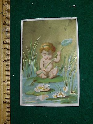 1870s-80s Cherub on Lily Pad Rowing w Flower in Pond Victorian Trade Card F36