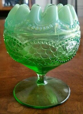 Antique Northwood  Green Opalescent Glass  Pearls and Scales footed Rosebowl