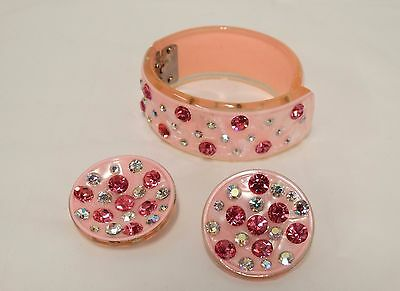 Vtg Pink Lucite Plastic Rhinestone Clamper Bracelet & Matching Clip Earrings Set