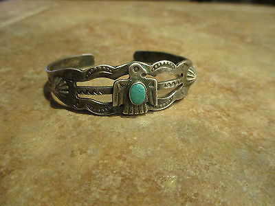 OLD Fred Harvey Navajo Sterling Silver Turquoise Applied THUNDERBIRD Bracelet