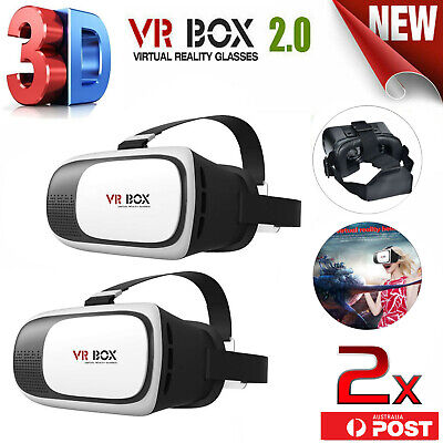 2x 2016 VR Headset VR BOX Virtual Reality Glasses 3D for Samsung Iphone 5 6s 7