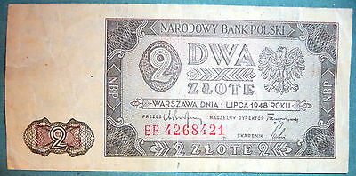 Poland 2  Zlote Note , 1948 Issue, P 134