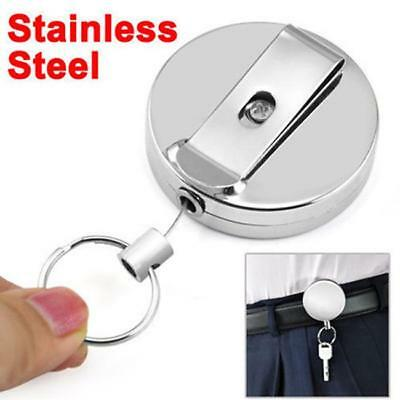Metal Retractable Pull Chain Reel ID Card Badge Keychain Holder Recoil Belt Clip