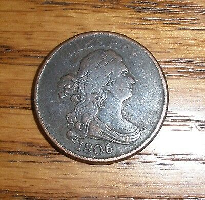 1806 Draped Bust Half Cent Small 6 Stemless