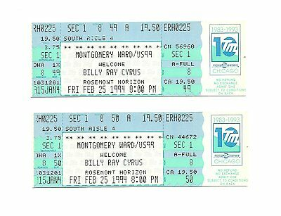 Billy Ray Cyrus Unused Concert Tickets From 1994