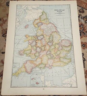 "12"" X 16"" Antique 1924 WALES & ENGLAND Map"