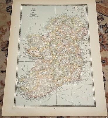 "12"" X 16"" Antique 1924 SCOTLAND & FREE STATE of IRELAND Map(2 Sided)"