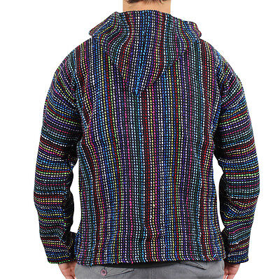 Mexican Baja hoodie surf pullover jacket multi colour unisex size XL drug rug
