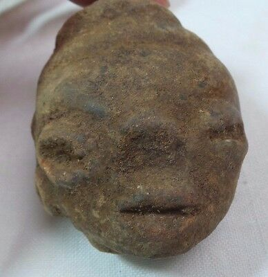 Pre Columbian Colombian Mayan Terracotta Figure Head  #14