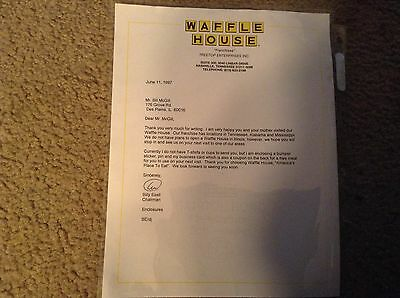 Rare signed Billy Ezell  Waffle House 1997  letter autographed