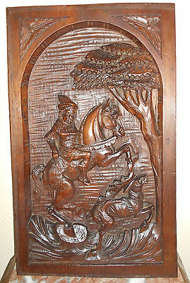 Stag Hunting, French Carved walnut Panel 19th