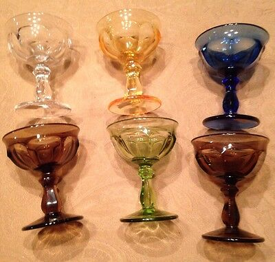 IMPERIAL GLASS OLD WILLIAMSBURG Amber Blue Clear Green Brown: Champagne Saucers