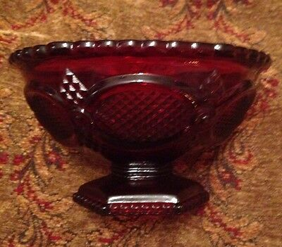 AVON CAPE COD COLLECTION Footed Serving Bowl or Candy Dish RUBY RED Pattern