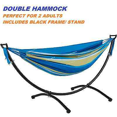 2 Person Double Hammock with Frame Steel Stand Camping Outdoor Lounge Chair NEW